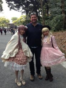 Mr M with two Harajuku girls.